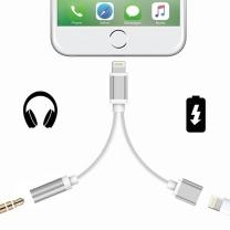 iPhone 7 et 7 Plus : Adapteur Lightning Noir Prise Jack + chargeur USB