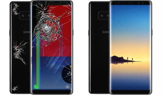Vitre arrière et écran Galaxy Note 8 cassé