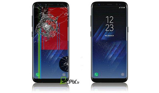Samsung Galaxy S 8 cassé Avant et Après réparation