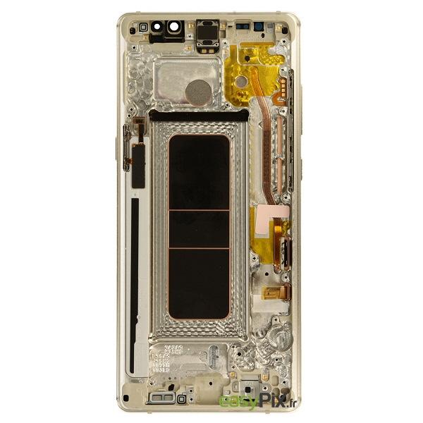 Vue arrière de l'écran et du châssis officiel Samsung Galaxy Note8 (SM-N950F) : couleur Or
