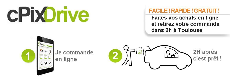 cPix Drive FACILE ! RAPIDE ! GRATUIT ! commandez sur cPix.fr et retirez vos pièces détachées dans 2h à Toulouse